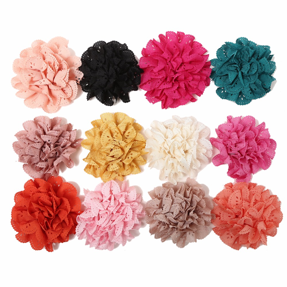 20pcs/lot 12Colors Fashion Handmade Eyelet Flowers For Chidlren Hair Accessories Artificial Fabric Flowers For Headbands
