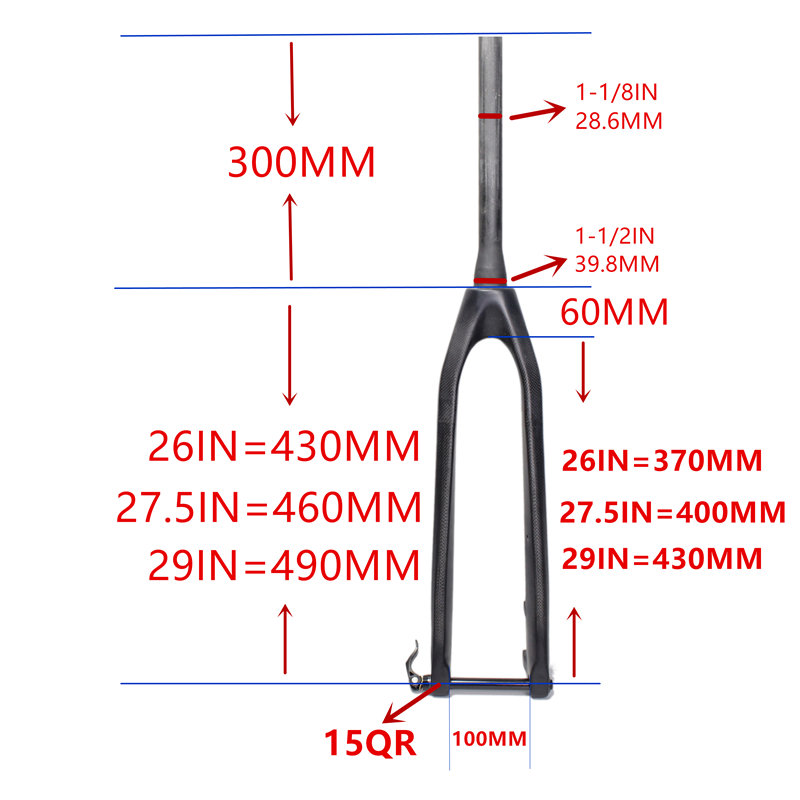 MTB FORK26 / 27.529er mtb fork full carbon fork bikes Rigid Mountain Bikes forkTapered Passing Axle 15mm Fork Fork Bicycle 1-1/8 26 27 5 29er mountain bicycle fork full carbon mtb fork with axle through dropout system hk cf 013