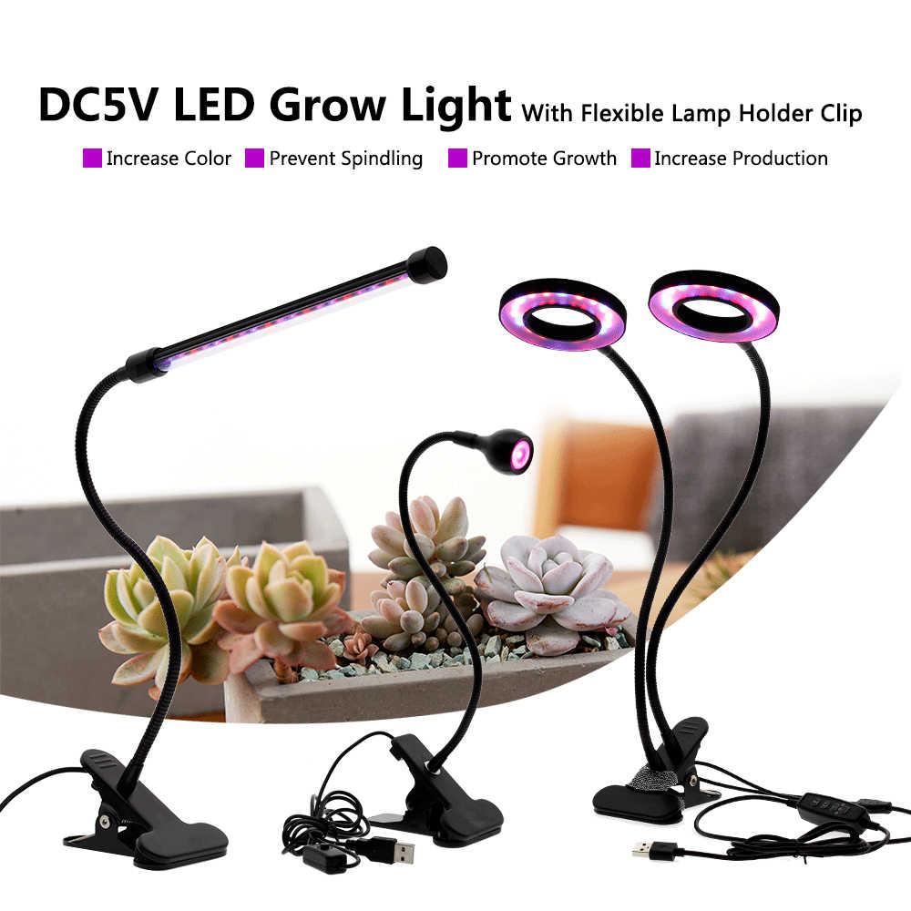 Espectro completo LEVOU Crescer Luz DC5V 3W 9W 18W 27W Clipe Flexível USB Fonte De alimentação do Desktop lâmpada de Luz de Crescimento da planta Para Planta Flor