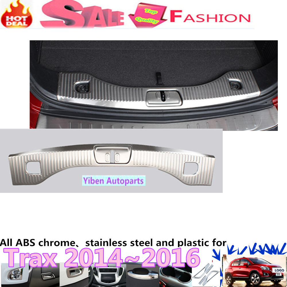 For Chevrolet Trax 2014 2015 2016 car cover Stainless Steel Inner Rear Bumper trim plate lamp frame threshold trunk pedal 1pcs car styling cover detector stainless steel inner built rear bumper protector trim plate pedal 1pcs for su6aru outback 2015