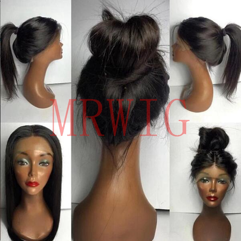 MRWIG free part black brown silky straight glueless full lace wig for woman anywhere part high ponytails baby hair combs&straps