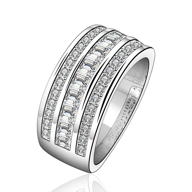 Top Quality Silver Plated Stamped 925 Fashion Jewelry Three Line Full Stone Wedding Ring S