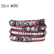 Fyla Mode Unique Natural 6mm Stone Beads Leather Wrap Bracelet Personalized Multi Layered Beads Bracelet Natural Stone Bracelet