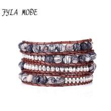 где купить Fyla Mode Unique Natural 6mm Stone Beads Leather Wrap Bracelet Personalized Multi Layered Beads Bracelet Natural Stone Bracelet по лучшей цене