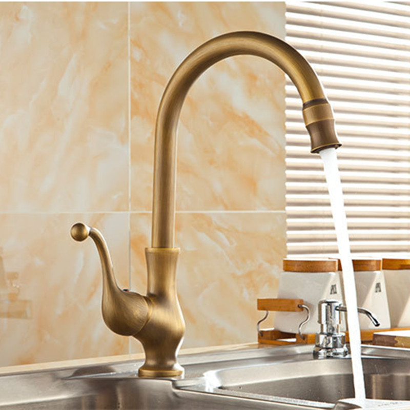 Free shipping 360 rotation antique kitchen mixer tap with top quality bronze kitchen sink mixer tap