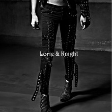 Japanese Harajuku Style Lace Up Mens Slim Fit Tight Trousers Street Punk Pants