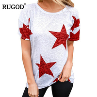 RUGOD 2018 New Arrival Casual Women Tops Loose Star Printed Female Tops Summer Autumn O neck Short Sleeve Knitted Lady T shirt