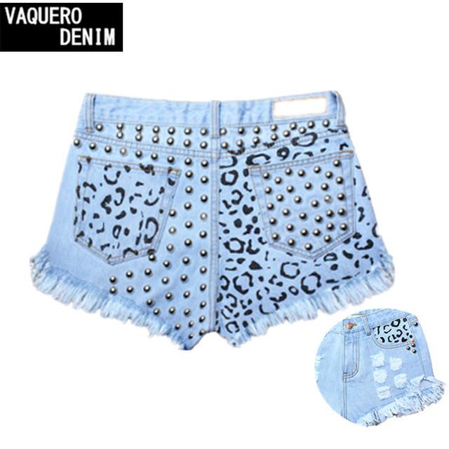 Moda mujeres calientes del verano Shorts de cintura alta Denim agujero Fringe todo fósforo de la impresión atractiva Jeans Short mini corta más el tamaño S-4XL SL032