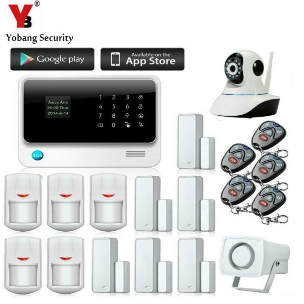 YobangSecurity Touch Keypad Wifi GSM GPRS Home Security Voice Burglar Alarm IP Camera Smoke Detector Door PIR Motion Sensor jeruan three 7 monitor color video door phone intercom 700tvl rfid access ir night vision camera electric mortise lock 8gb card