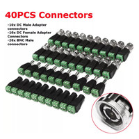 40Pcs BNC Terminal Connector DC 5.5x2.1mm Male/Female Connector for CCTV LED 5050 3528 5630