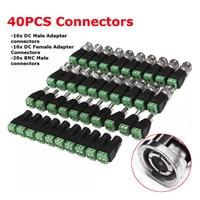 40 Pcs BNC Terminal Conector DC 5.5x2.1mm Masculino/Feminino Conector para CCTV LED 5050 3528 5630
