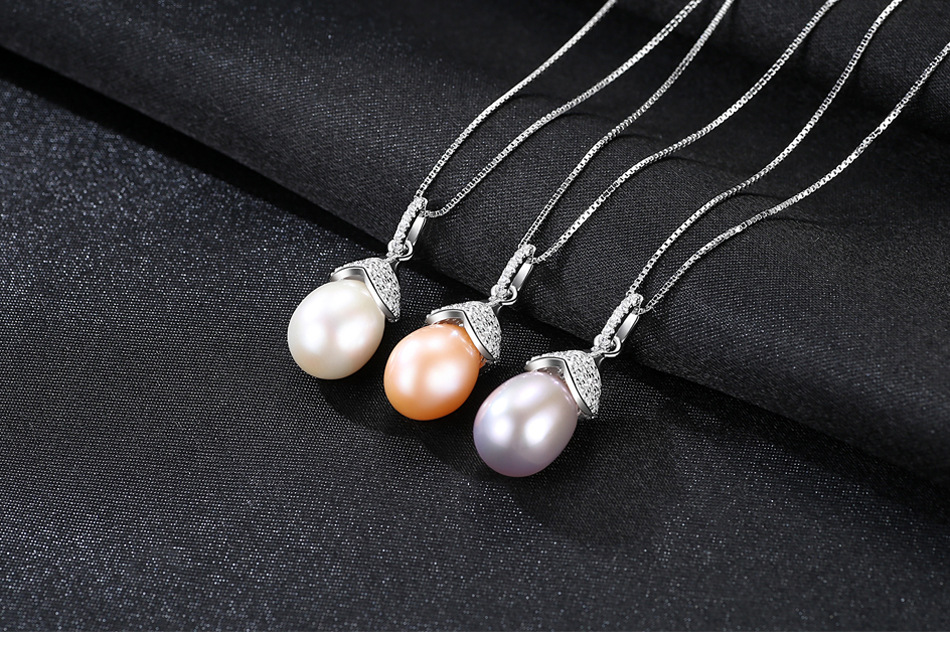 S925 sterling silver necklace pendant micro inlaid zircon Natural freshwater pearl wild jewelry item GW03