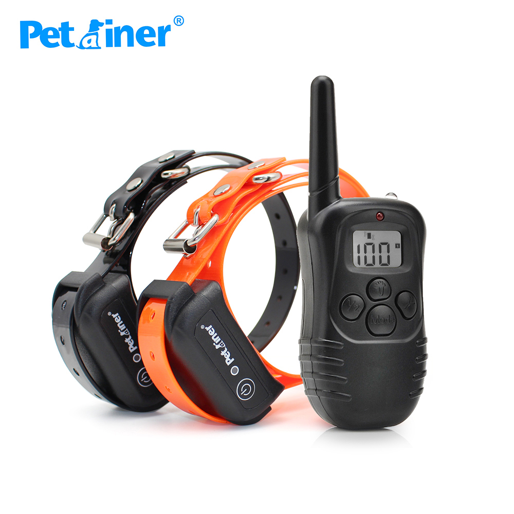 Petrainer 998DB 2 Remote Pet Trainer Dog Training Collar for 2 dogs with 100LV of Shock