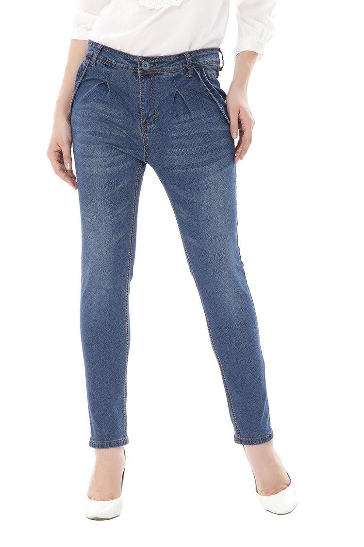 Новые Модные узкие брюки большого размера однотонные джинсы с высокой талией для больших леди 5XL 6XL женская одежда больших размеров