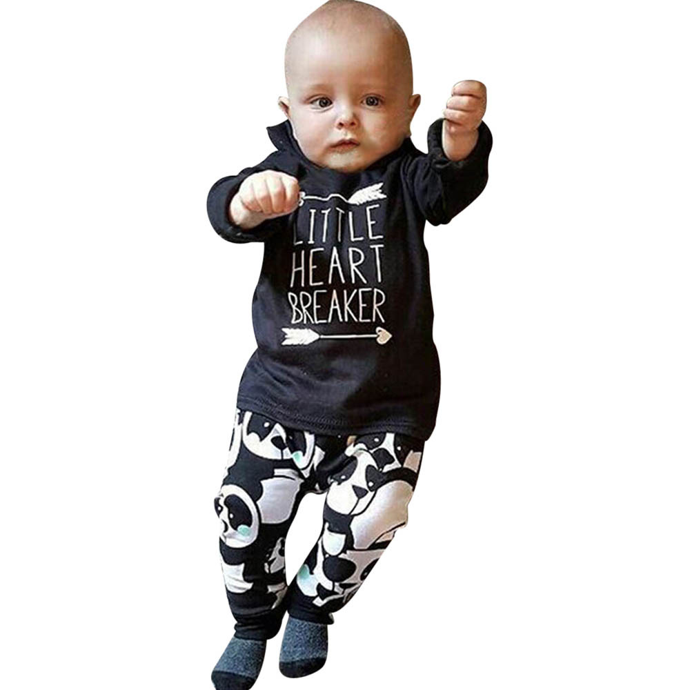 MUQGEW Boy Clothing Set Long Sleeve Letter Blouse Tops +panda Pants printed Outfits Clothes Set Baby Boy Clothes Enfant QZ06 2pcs set baby clothes set boy