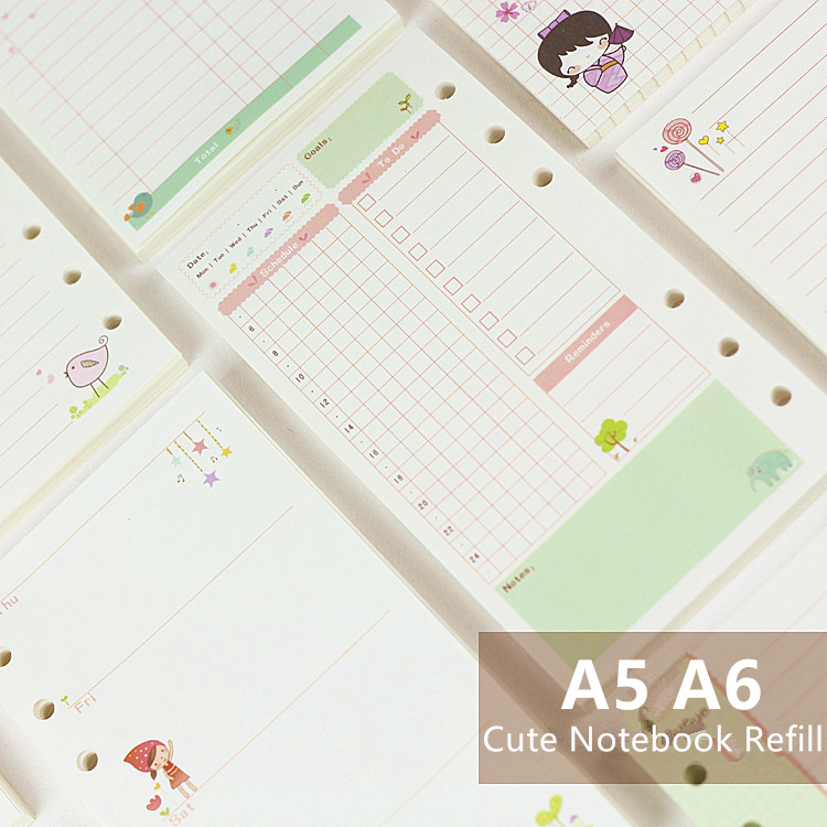 6 Holes Cute Kawai Colorful Loose Leaf Spiral Notebook Refill Inner Page Daily Weekly Monthly To do Cornell Finance Notepad