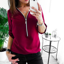 Zipper Short Sleeve Women Tops Deep V-neck Slim 3/4 Sleeve Polo Shirts Plus Size Sexy Pullovers OL Style Office Tops(China)