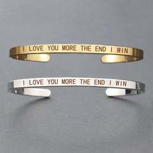 I Love You More Than The End Win Bracelet Stainless Steel Couples Fashion Cuff Valentines Day Gift