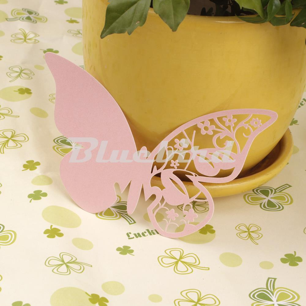 50x Pink Butterfly Laser Cut Paper Card Wedding Party Table Name Place Cards Holder For Wine Glass Decorations