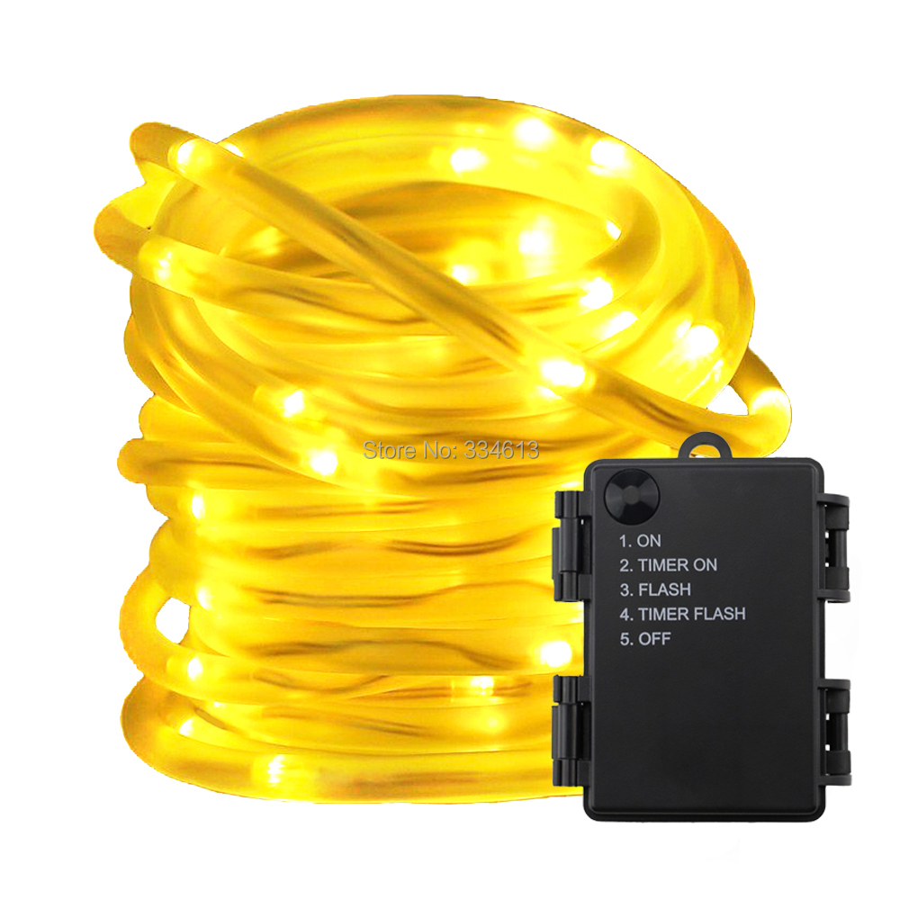 Battery Powered String Lights, 5 Modes Timer 5M 10M LED Rope Lights Waterproof PVC Tube For Christmas Holiday Outdoor Decoration
