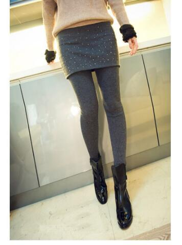 Autumn and winter plus size clothing slim hip faux two piece skirt legging basic skirt pants skirt plus velvet thickening