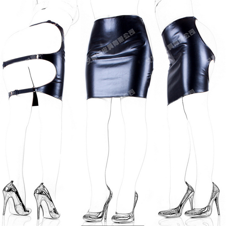 Soft PU Europe sexy elastic skin tight leather bondage package hip skirt Lutun field tuning step skirt Fun games Slave tune