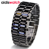 Aidis 새로운 어 빛나는 스포츠 시계 디럭스 럭셔리 LED 전자 남성 스테인레스 스틸 손목 시계 남성 블루 이진