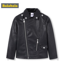 Balabala Kids Boys PU Leather Biker Jacket Toddler Boy Moto Jacket Children Kids Embroidered Jacket Winter Coat Outwear Clothing(China)