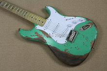цены Custom Shop 100% handmade aged st guitar high quality surf green st relic guitar free shipping limited issue