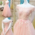 Luxuries 2016 On sale Ball Bridal Gown Cap sleeve Appliques Lace Beads Pink Wedding Dresses Formal Women Wedding Gowns