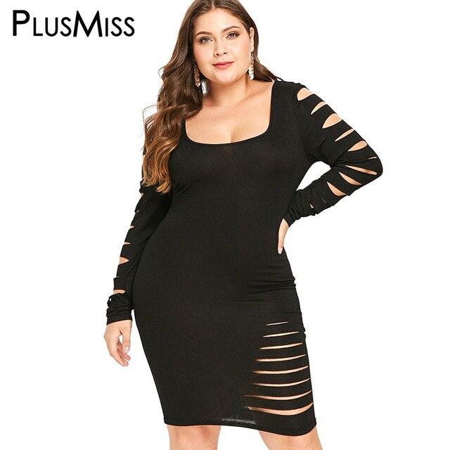 cff5c6fe8b299 US $10.7 40% OFF|PlusMiss Plus Size 5XL Ladder Cut Out Sexy Club Party  Dresses Women Ripped Mini Short Dress Big Size Black Red XXXXL XXXL XXL -in  ...