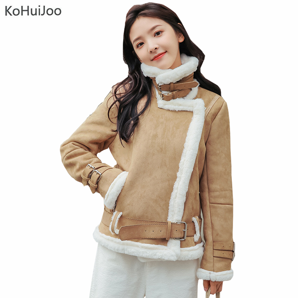 KoHuiJoo Women Winter   Suede     Leather   Jackets Casual Belted Fashion Faux   Suede   Coats Female Long Sleeve Warm   Leather   Jackets