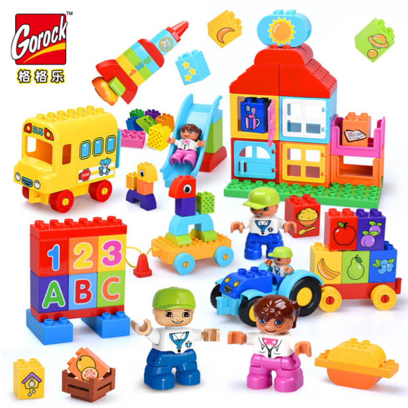 GOROCK 6sets big duplo bricks Compatible Blocks Fruit Vegetable Trucks Large Building Blocks Educational Toys for baby kids babe image
