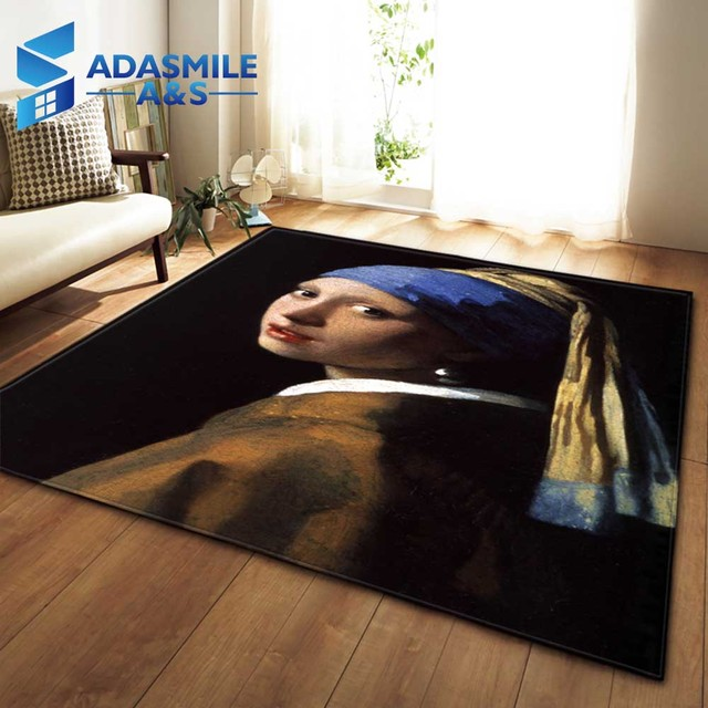 Nordic Large Living Room/Bedroom Rug Carpets Antiskid Soft Flannel Mat Modern Home Textile 3D Art Portrait Painting Area Rug