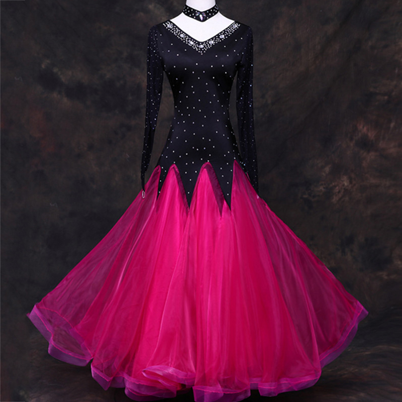 Sequins Ballroom Dance Dress Women Lady Waltz Dance Dress Competition Standard Dance Dress Customized Performance Wear