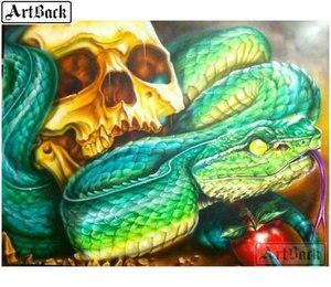 Kit de pintura de diamante de serpiente de calavera de taladro cuadrado completo diy 3d diamante mosaico de diamantes de imitación artesanías pintura decoración de pared