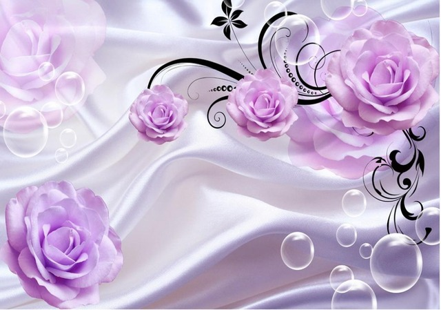 Purple Rose 3D TV Backdrop Custom 3d Mural Wallpaper Tv Flower Home Decoration