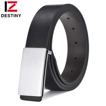 DESTINY Designer Fashion Leather Belt Men High Quality Luxury Brand Casual Strap Male Silver S Smooth Buckle Cowather For Jeans