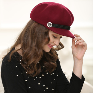 Image 3 - סתיו וחורף אישה מוצק צבע מתומן כובע גברת מסיבת אופנה 100% צמר הרגיש כובעי Newsboy