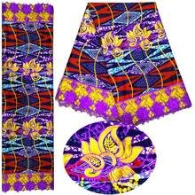 6 ярдов кружева АФРИКАНСКАЯ гипюровая кружевная ткань вышивальная сетчатая кружева ткань Мода Африканский воск печать швейная одежда Африка восковая ткань
