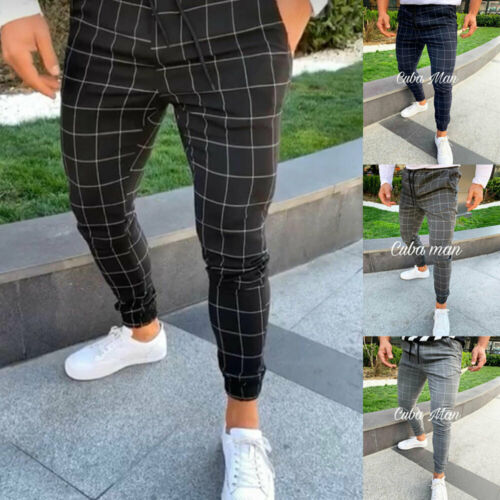 UK Mens Sport Gym Plaid Casual Pants Slim Fit Running Joggers Long Trousers
