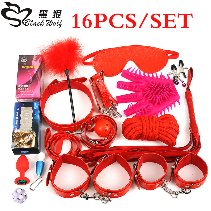 Black Wolf 16PCS/Set New Leather bondage Set Restraints Adult Games Sex Toys for Couples Woman Slave Game SM Sexy Erotic Toys