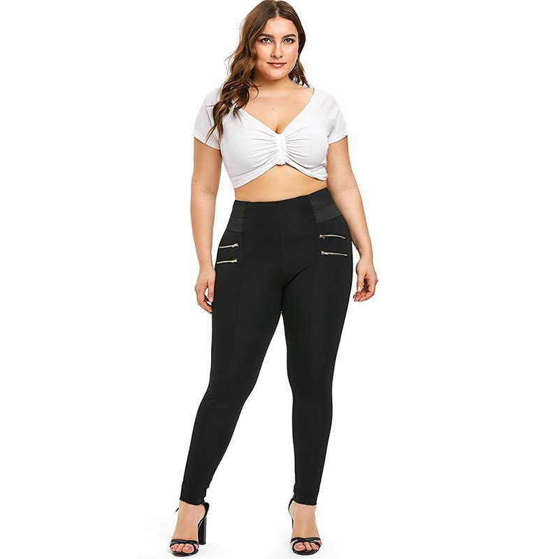 PlusMiss размера плюс XXXXXL Высокая Талия застежкой-молнией, украшенные леггинсы XXXXL XXXL Для женщин обтягивающие леггинсы штаны плотные леггинсы для девочек черные леггинсы джеггинсы большие