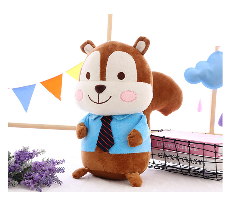 middle lovely  plush blue squirrel toy with tie cute cloth squirrel doll gift about 40cm