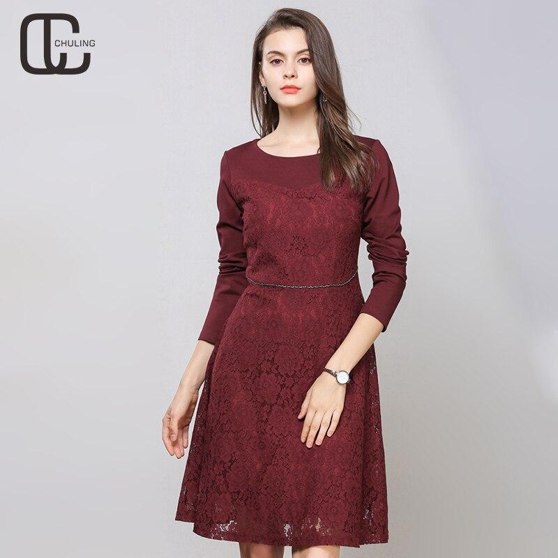 7617a0b49cc3 Linea Lunghe Merletto Vestito Abiti Rosso Da Elegante Di Wine Donna Una Del  Inverno Autunno Floreale Partito Sera Size Plus ...