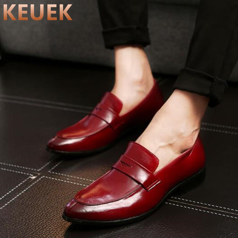 Pointed Toe Men Dress shoes Slip On Flats Casual Leather shoes Spring Autumn Male Loafers sapato masculino chaussure homme 22 luxury fashion men crystal flats metal pointed toe huarache slip on wedding shoes man 36 46 chaussure homme sapato masculino