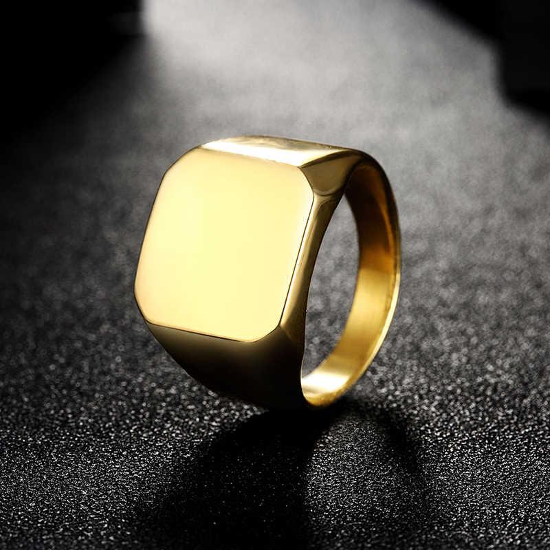 แหวนแฟชั่นขนาดใหญ่กว้าง Signet แหวนไทเทเนียมเหล็ก Man Finger Silver/สีดำ/ทองเครื่องประดับของขวัญ