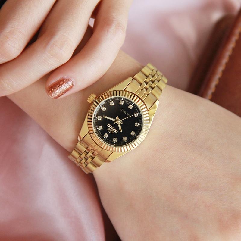 CHENXI Luxury Women Guldklockor Vattentät Casual Guldklänning Rhinestone Kvinna Armbandsur Mode Retro Lady Klocka 004A