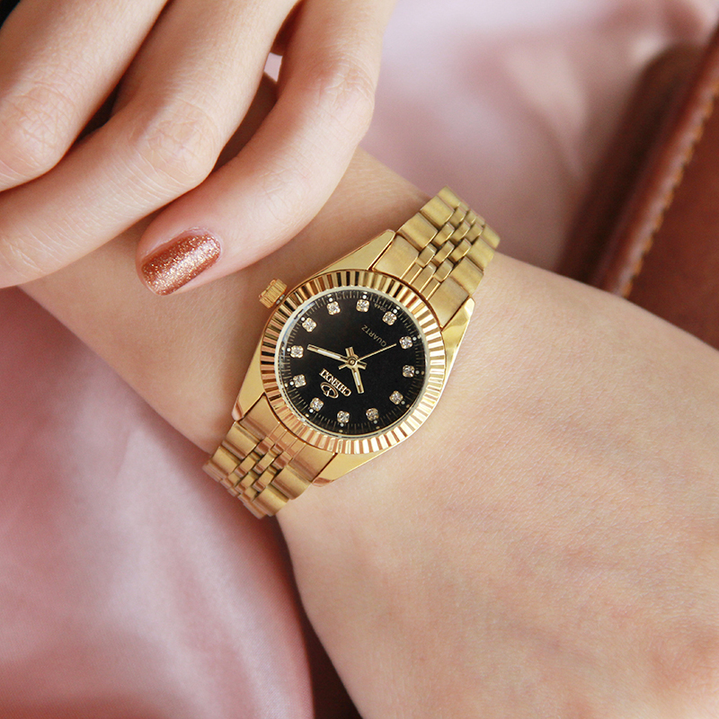 CHENXI Luxury Women Gold Watches Waterproof Casual Golden Dress Rhinestone Female Wristwatch Fashion Retro Lady Clock 004A