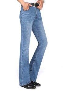 Image 4 - 2019 neue Sommer Dünne Herren Ausgestelltes Bein Jeans Hohe Taille Lange Flare Jeans Für Männer Bootcut Blue Jeans Hommes glocke bottom jeans männer